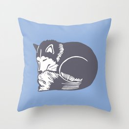Sleeping Husky Dog Throw Pillow