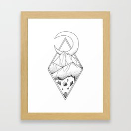 Geometric mountain in a diamonds with moon (tattoo style - black and white) Framed Art Print