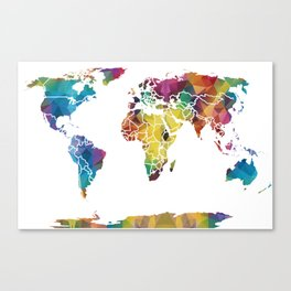 Geometric World Map Canvas Print