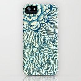 Emerald Green, Navy & Cream Floral & Leaf doodle iPhone Case
