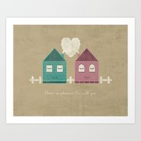 home sweet home Art Prints featuring Home by Teo Zirinis