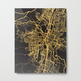 MEDELLIN COLOMBIA GOLD ON BLACK CITY MAP Metal Print