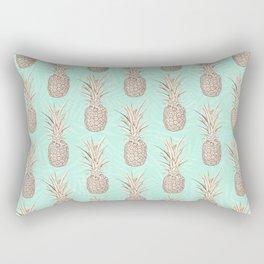Golden and mint pineapples pattern Rectangular Pillow
