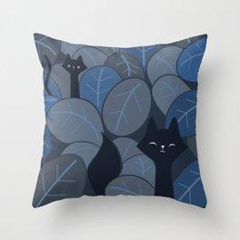 Fox & Cat in the night jungle safari 065_03_06 Throw Pillow