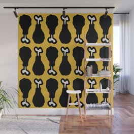 Drumstick Pattern Black and Yellow Wall Mural