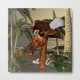 Cute, funny pirate giraffe Metal Print