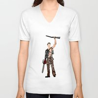 evil dead V-neck T-shirts featuring The Evil Dead - Bruce Campbell by Ayse Deniz
