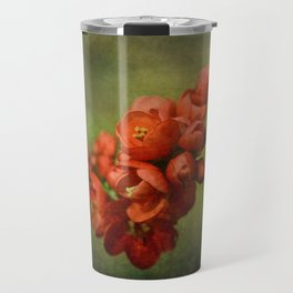 Blossoming Red Spring Flowers On Green Backgrond Travel Mug
