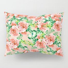 Botanical red green coral watercolor floral roses pattern Pillow Sham