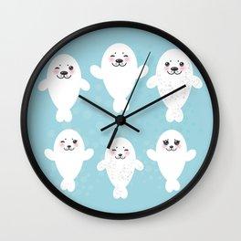 Funny white fur seal pups, cute seals with pink cheeks and big eyes. Kawaii albino animal Wall Clock