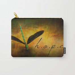 Hope Ebony Jewel Wing Damselfly on Golden Sunlight Dragonfly Carry-All Pouch