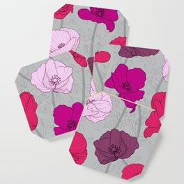 Purple Jewel Tone Hand Drawn Poppies Coaster