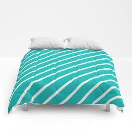 Diagonal Lines (White/Tiffany Blue) Comforters