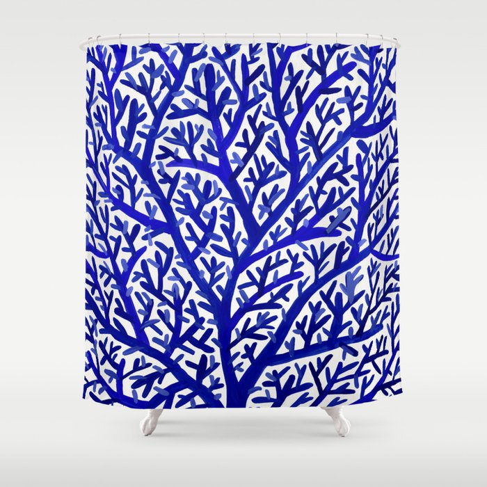 Fan Coral – Navy Shower Curtain