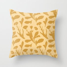 Block Print Marigold Floral in Flax Yellow Throw Pillow