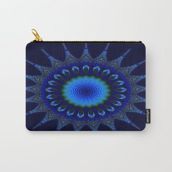 Blue kaleidoscope fractal star Carry-All Pouch