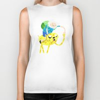 finn and jake Biker Tanks featuring Jake and Finn by victorygarlic