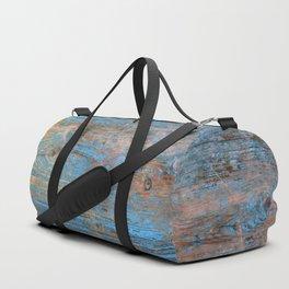 Blue Wood Grain Duffle Bag
