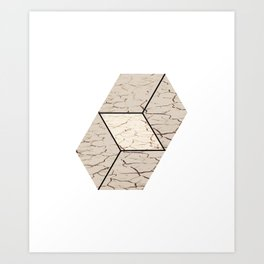 Earth hexagon abstract - Earth sign - The Five Elements Art Print