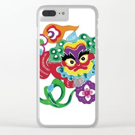 Chinese Paper Cutting Chinoiserie Watercolor Design Clear iPhone Case