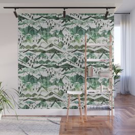 Watercolor Green Wintery Mountains Wall Mural