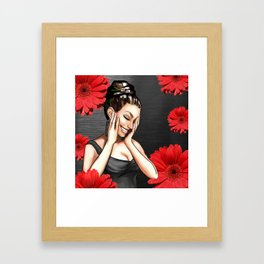Retro Pinup Girl Laughing Red Daisy Flowers Framed Art Print