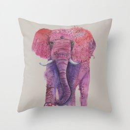 Ink Animals of Africa - Pink Ellie Throw Pillow