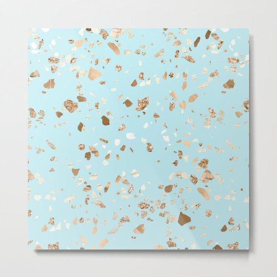 Blue Gold Modern Terrazzo Metal Print