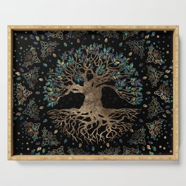 Tree of life -Yggdrasil Golden and Marble ornament Serving Tray
