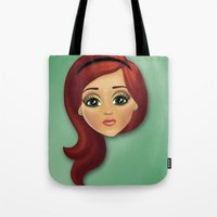 redhead Tote Bags featuring Redhead by Lindella