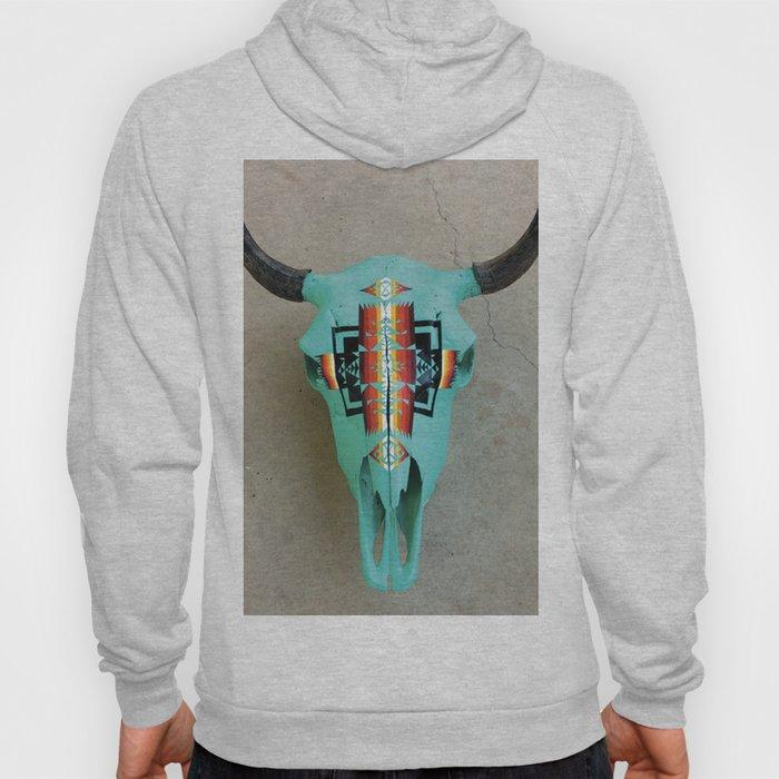 Turquoise Bison Skull Hoody