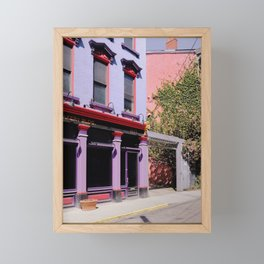 Colorful Facades and Pink Blossom Framed Mini Art Print