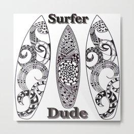 Surfer Dude Zentangle Art Metal Print