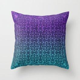 Pixel Patterns Green/Purple Throw Pillow