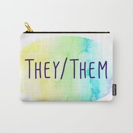 They Them Pronouns (Watercolor Rainbow) Carry-All Pouch