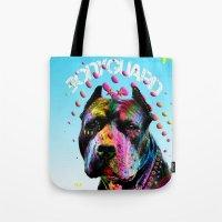 pitbull Tote Bags featuring pitbull  by mark ashkenazi