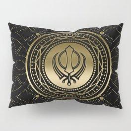 Decorative Khanda symbol gold on black Pillow Sham