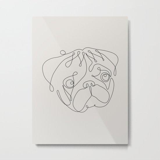 One Line Pug Metal Print