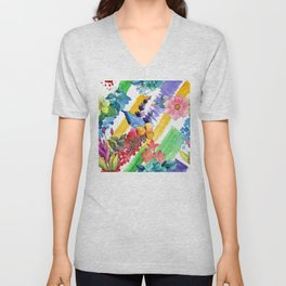 Watercolor Modern Floral Pattern In Blues, Lilacs, & Red Unisex V-Neck