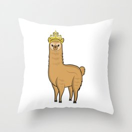 alpaca queen woman lama alpaca cute animal fur white Throw Pillow