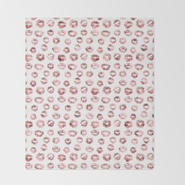 Girly Fashion Lips Rose Gold Lipstick Pattern Throw Blanket