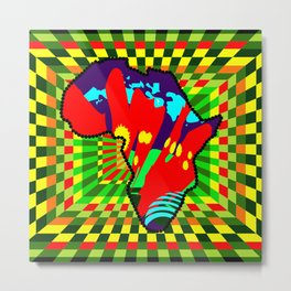 Colorful African Checkered Abstract Print Metal Print