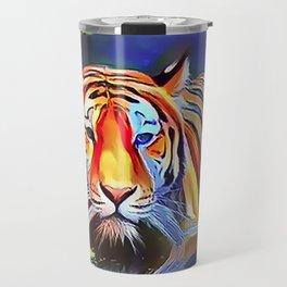 Bengal Tiger Crossing the Lake Travel Mug