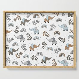 Little Elephant safari rainbow love neutral nursery Serving Tray