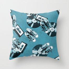 Retro music pattern monochrome Throw Pillow