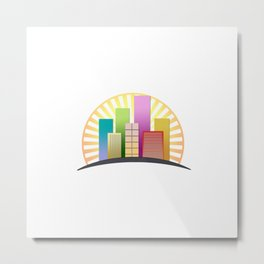 Colorful skyscrapers buildings with sun shining Metal Print