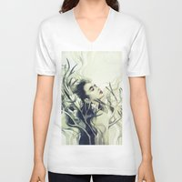 stag V-neck T-shirts featuring Stag by Anna Dittmann