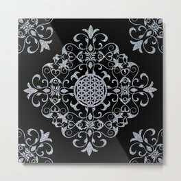 Silver Glitter Flower Of Life Design On Black Metal Print