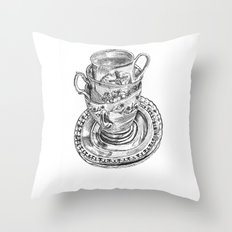 Stacked Tea Cups Throw Pillow