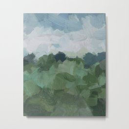 Sky Blue and Sage Green Abstract Painting, Modern Wall Art Print, Rural Country Farm Rustic Metal Print